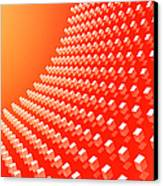 Orange Abstract Cubes In A Curve Canvas Print by Ralf Hiemisch