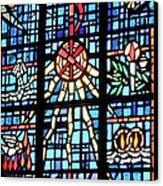 Orange Blue Stained Glass Window Canvas Print by Thomas Woolworth