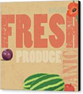 Organic Fresh Produce Poster Illustration Canvas Print by Don Bishop