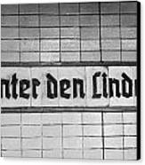 original 1930s Unter den Linden Berlin U-bahn underground railway station name plate berlin germany Canvas Print