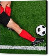 Overhead Football Player Sliding Canvas Print