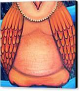 Owl In Oil Canvas Print by Barbara Stirrup