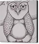 Owl Sketch Canvas Print by Barbara Stirrup