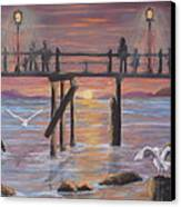 Pacific Ocean Moonlight Canvas Print by Janna Columbus
