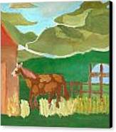 Paint Pony At Red Schoolhouse Canvas Print