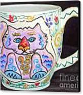 Painted Kitty Mug Canvas Print by Joyce Jackson