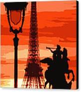 Paris Tour Eiffel Red Canvas Print by Yuriy  Shevchuk