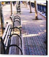 Park Benches In Hoboken Canvas Print by George Oze