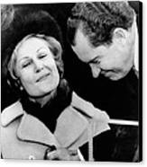 Pat Nixon Grasps Her Husbands Hand Canvas Print by Everett