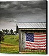 Patriotic Shed Canvas Print by Kathy Jennings