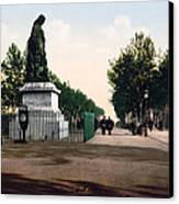 Paul Riquet Statue And The Allees In Beziers - France Canvas Print