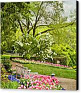 Peaceful Spring Park Canvas Print by Cheryl Davis