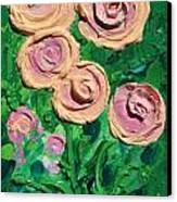 Peachy Roses Taking Form Canvas Print by Ruth Collis