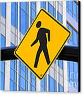 Pedestrian Crosswalk Sign In Business District Canvas Print by Gary Whitton