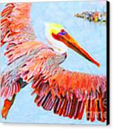 Pelican Flying Back To The Docks Canvas Print