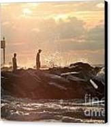 People Walking On New Buffalo Michigan Breakwater Canvas Print by Christopher Purcell