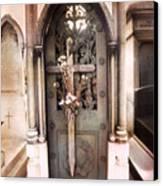 Pere La Chaise Cemetery Ornate Mausoleum Canvas Print