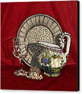 Pewter Dish With Red Cloth. Canvas Print by Raffaella Lunelli
