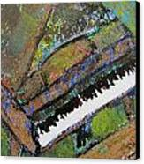 Piano Aqua Wall - Cropped Canvas Print by Anita Burgermeister