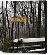 Picnic Table In Snow Canvas Print by Will and Deni McIntyre