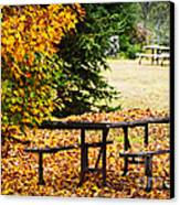 Picnic Table With Autumn Leaves Canvas Print by Elena Elisseeva