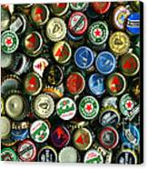 Pile Of Beer Bottle Caps . 9 To 16 Proportion Canvas Print by Wingsdomain Art and Photography