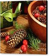 Pine Cones And Christmas Balls  Canvas Print by Sandra Cunningham