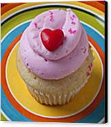Pink Cupcake With Red Heart Canvas Print