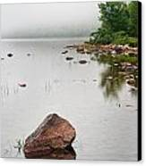 Pink Granite In Jordan Pond At Acadia Canvas Print by Steve Gadomski