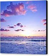 Pink Sunset On The Beach Canvas Print by Anna Om