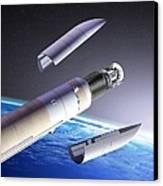 Planck And Herschel Launch, Artwork Canvas Print by David Ducros