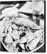 Plate Of Spicy Crab Seafood At A Table In An Outdoor Cafe At Night Kowloon Hong Kong Hksar China Canvas Print