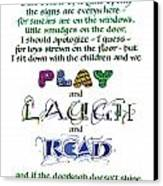 Play Laugh Read Canvas Print by Judy Dodds