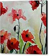 Poppies Meadow - Abstract Canvas Print by Ismeta Gruenwald