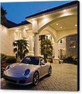 Porsche Parked At Mansion Canvas Print by Roberto Westbrook