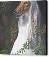 Portrait Of A Domino Afghan Hound Canvas Print by Gayle Rene