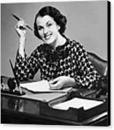 Portrait Of Businesswoman At Desk Canvas Print by George Marks