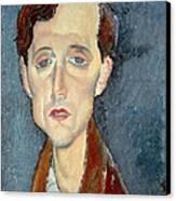 Portrait Of Franz Hellens Canvas Print by Modigliani