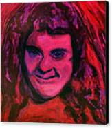 Portrait Of Jenny Friedman Who Never Gave Up. Figure Portrait In Pink Purple And Blue Downs Syndrome Canvas Print by MendyZ M Zimmerman