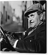 Portrait Of Man In Drivers Seat Of Car Canvas Print by Everett