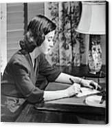 Portrait Of Woman Writing Letter At Desk Canvas Print by George Marks