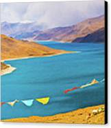 Prayer Flags By Yamdok Yumtso Lake, Tibet Canvas Print
