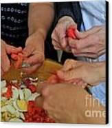 Preparing Salad Canvas Print
