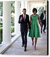 President And Michelle Obama Walk Canvas Print