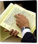 President Barack Obama Holds Canvas Print by Everett