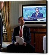 President Barack Obama In Front Canvas Print by Everett