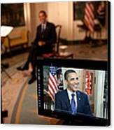 President Barack Obama Tapes The Weekly Canvas Print