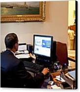 President Barack Obama Tests The New Canvas Print by Everett