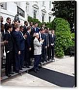 President Barack Obama Waves To Coach Canvas Print