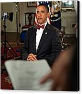 President Barack Obama Wearing A Bow Canvas Print by Everett